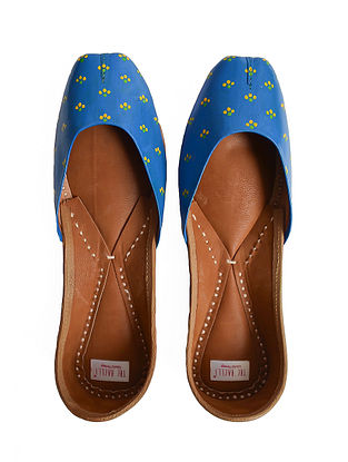 Indigo Handpainted Genuine Leather Juttis