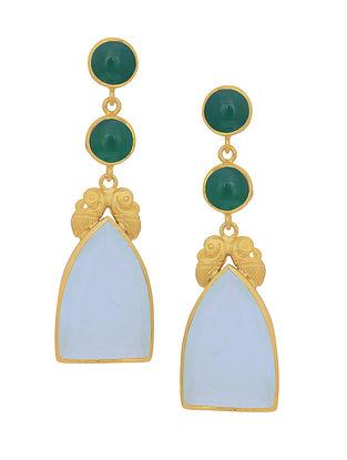 Green Blue Gold Tone Silver Earrings