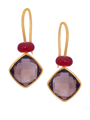 Red Brown Gold Tone Silver Earrings