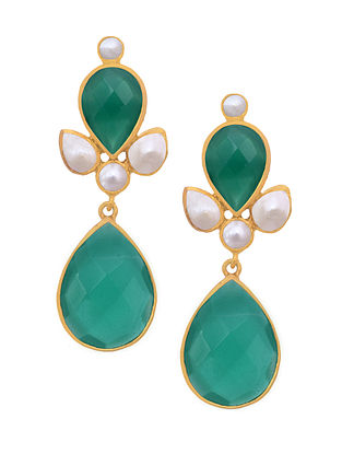 Green Gold Tone Silver Earrings with Pearls