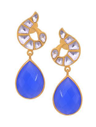 Blue Gold Tone Silver Earrings