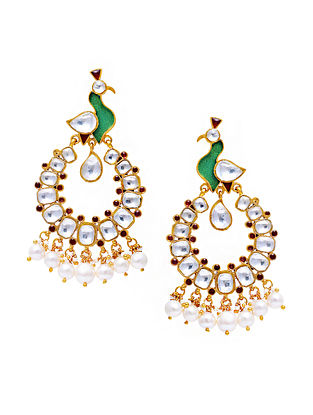 Green Red Gold Tone Kundan Silver Earrings with Pearls