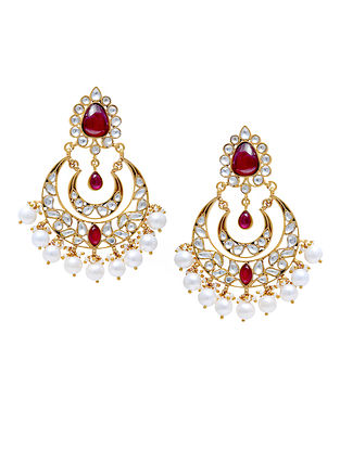 Red Gold Tone Kundan Silver Earrings with Pearls