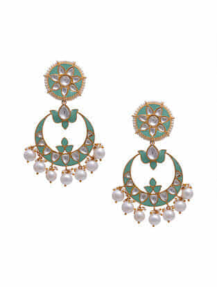 Turquoise Gold Tone Silver Earrings with Pearls