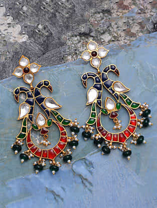 Multicolored Gold Tone Silver Earrings with Pearls