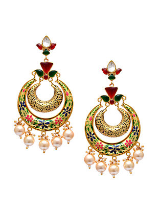 Multicolored Handpainted Gold Tone Silver Earrings with Pearls