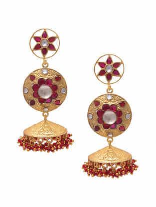 Red Gold Tone Silver Jhumki Earrings