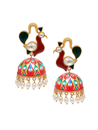 Multicolored Handpainted Gold Tone Silver Jhumki Earrings