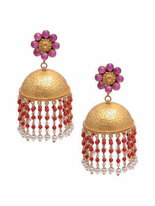 Red Gold Tone Silver Jhumki Earrings with Pearls