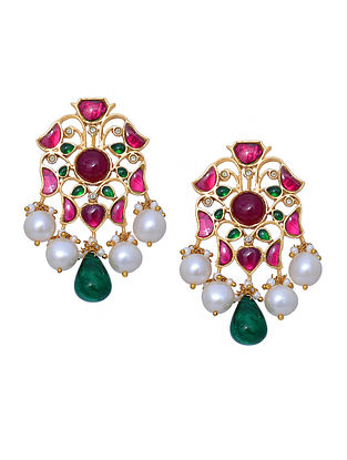 Red Green Gold Tone Silver Earrings with Pearls
