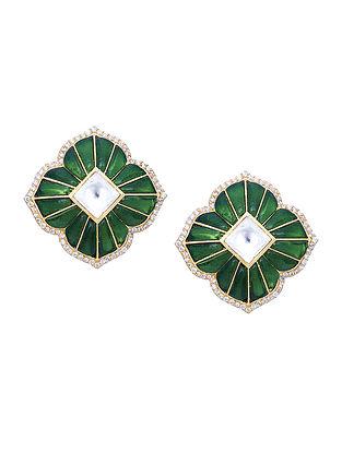 Green Gold Tone Kundan Silver Earrings