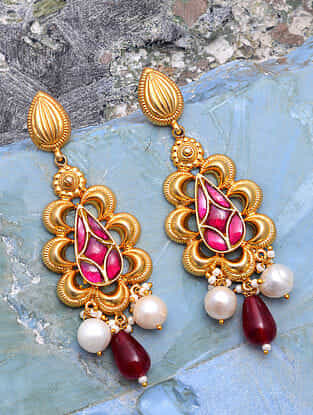 Red Gold Tone Silver Earrings with Pearls