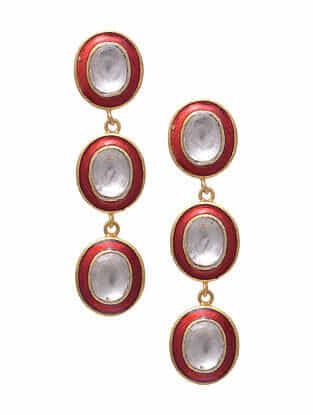 Red Enameled Gold Tone Silver Earrings