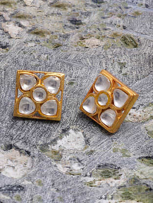 Gold Tone Kundan Silver Stud Earrings