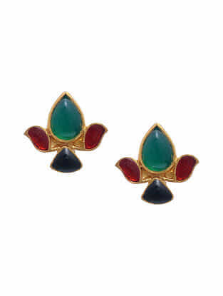 Multicolored Gold Tone Silver Stud Earrings