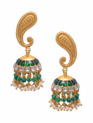 Green Gold Tone Silver Jhumki Earrings with Pearls