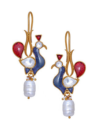 Red Blue Gold Tone Silver Earrings with Pearls