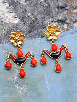 Red Blue Gold Tone Silver Earrings