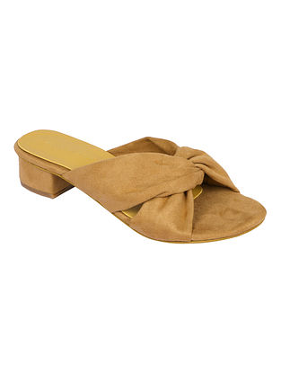 Mustard Handcrafted Faux Leather Block Heels