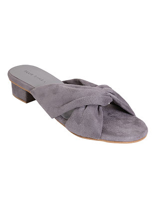 Grey Handcrafted Faux Leather Block Heels
