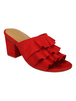 Red Handcrafted Faux Leather Block Heels