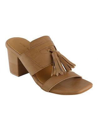Beige Handcrafted Faux Leather Block Heels