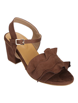 Brown Handcrafted Faux Leather Block Heels