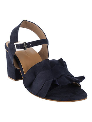 Navy Blue Handcrafted Faux Leather Block Heels