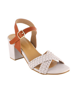 Grey Tan Handcrafted Faux Leather Block Heels