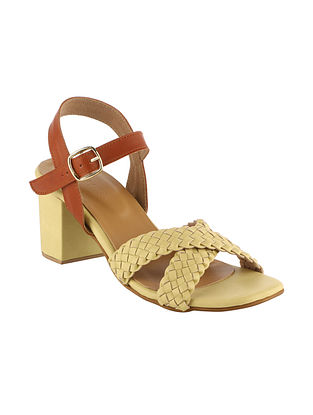 Yellow Tan Handcrafted Faux Leather Block Heels