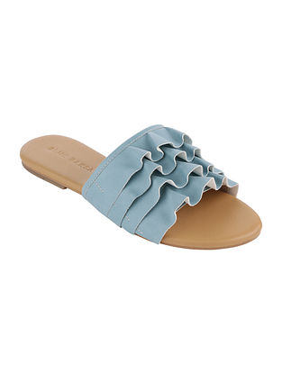 Blue Handcrafted Faux Leather Flats