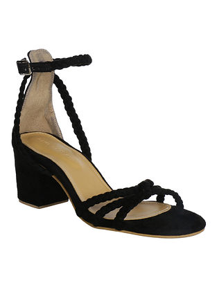 Black Handcrafted Faux Leather Block Heels