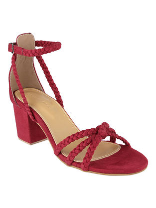 Maroon Handcrafted Faux Leather Block Heels