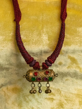 Maroon Gold Tone Handcrafted Thread Necklace