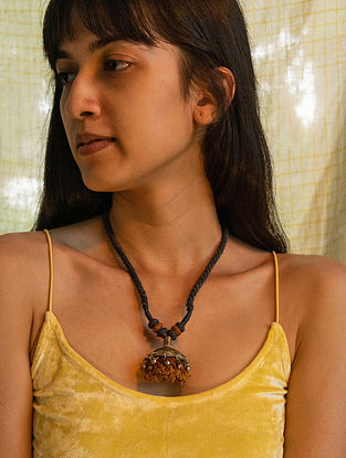 Green Mustard Silver Tone Handcrafted Thread Necklace