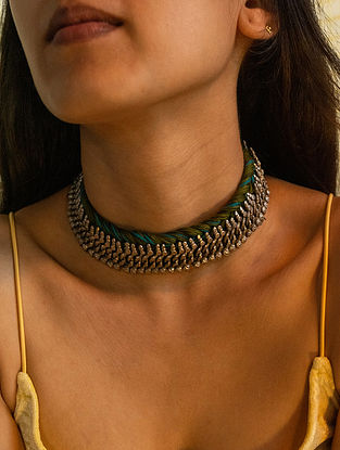 Green Blue Silver Tone Handcrafted Thread Necklace