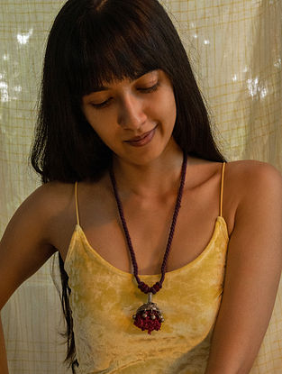 Purple Red Silver Tone Handcrafted Thread Necklace