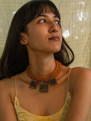 Mustard Gold Tone Handcrafted Thread Necklace