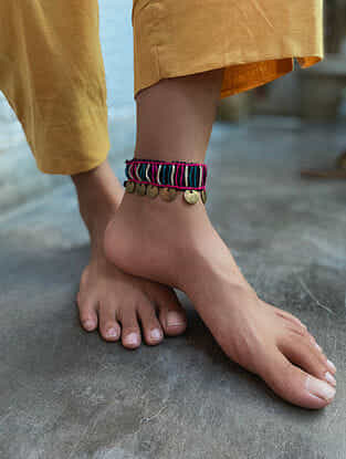 Multicoloured Gold Tone Handcrafted Thread Anklet