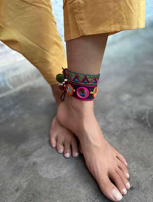 Multicoloured Silver Tone Handcrafted Thread Anklets (Set of 2)