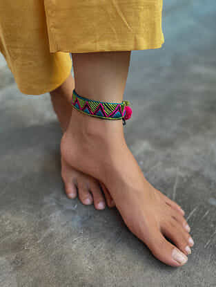 Multicoloured Silver Tone Handcrafted Thread Anklet