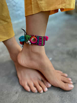 Multicoloured Silver Tone Handcrafted Thread Anklet with Mirrors