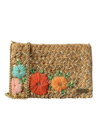 Brown Handcrafted Jute Sling Bag