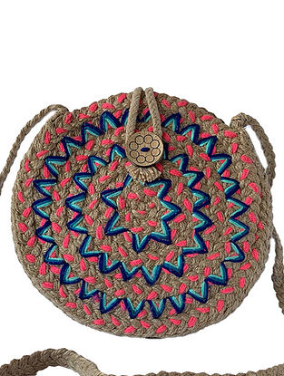 Brown Handcrafted Double-Sided Jute Sling Bag