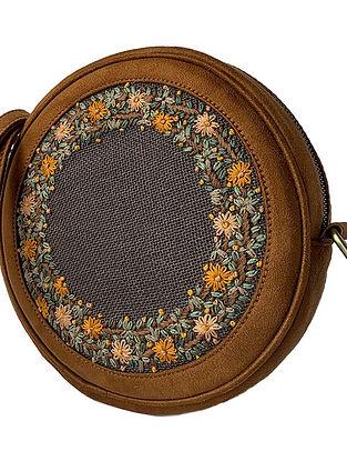 Tan Handcrafted Jute Sling Bag