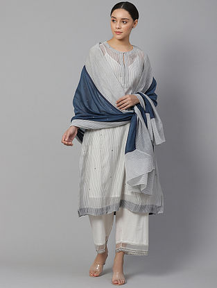 Seth Striped Chanderi Kurta with Hand Embroidery and Slip (Set of 2)