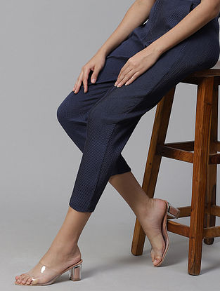 Linda Navy  Cotton Trousers with Pintucks