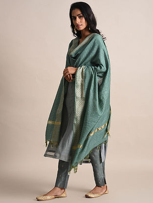 Teal Zari Checkered Handwoven Chanderi Dupatta