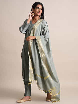 Grey Zari Checkered Handwoven Chanderi Dupatta