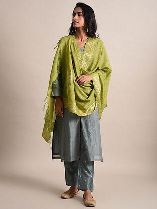 Green Zari Checkered Handwoven Chanderi Dupatta